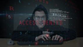 Pirate informatique essayant d'ouvrir une session banque de vidéos