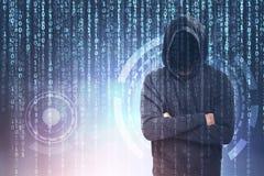 Pirate informatique méconnaissable, zéros et ceux, HUD Photos stock