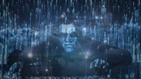 Pirate informatique masculin contre des codes binaires et des connexions de données illustration stock