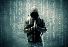 Pirate informatique mystérieux fâché avec des nombres Images libres de droits