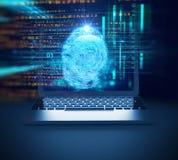 Pirate informatique numérique bleu de cyber sur l'illustration de l'écran 3d d'ordinateur portable Images stock