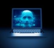 Pirate informatique numérique bleu de cyber sur l'illustration de l'écran 3d d'ordinateur portable Photo libre de droits