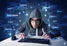 Pirate informatique programmant dans l'environnement de technologie avec des icônes de cyber Photo libre de droits