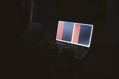 Pirate informatique russe entaillant le serveur dans l'obscurité Photographie stock libre de droits