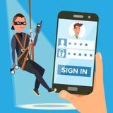 Pirate informatique volant le vecteur de mot de passe personnel Voleur Character L'information personnelle de fente Pêche de l'at Photos stock