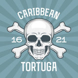 Pirate insignia concept. Caribbean tortuga island. Vector t-shirt design blue background. Jolly Roger with crossbones logo template. Poison icon illustration Stock Image