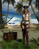 Pirate Island. Digital render of a female pirate guarding a treasure chest on a tropical island Stock Photos