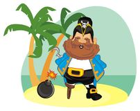 Pirate on island with bomb. Happy pirate stand on island with bomb with a fire Stock Photo