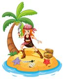 Pirate and island. Illustration of a female pirate on an island Stock Photo