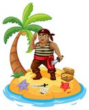 Pirate and island Royalty Free Stock Images