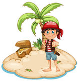 Pirate and island Stock Photo