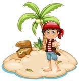 Pirate and island Stock Photo