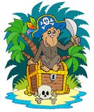 Pirate island with monkey Royalty Free Stock Photos
