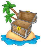 Pirate island with open chest Stock Photo