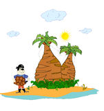 Pirate on an island with palm trees  Royalty Free Stock Photos