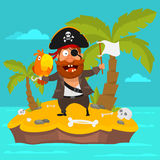 Pirate on island part 3. Vector Illustration, Pirate on island part 3, format EPS 8 Stock Photo