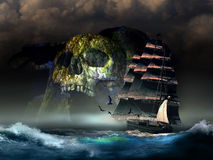 Pirate island. Pirate sailboat approaching a strange island with the shape of a skull Stock Photo