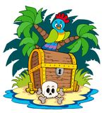 Pirate island with treasure chest Royalty Free Stock Photos