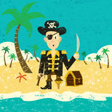 Pirate on an island with treasure. A pirate with his treasure on a deserted island. The pirate and the background are on separate labeled layers Stock Photo