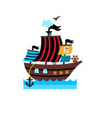 Pirate isolated icon with vessel Stock Image
