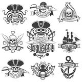 Pirate items. Corsair logo set in vintage style. Tattoos with pirate skulls Royalty Free Stock Photo