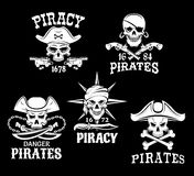 Pirate Jolly Roger symbols or vector icons set Stock Photography