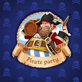 Pirate with a keg of rum and pistol. Banner for Pirate party Stock Photos