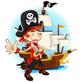 Pirate Kid and His Big War Ship. An Illustration Of Pirate Kid Holding Sword And Smiling With Background Of Big War Ship Royalty Free Stock Images