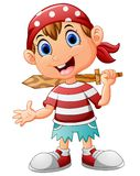 Pirate kid holding a wooden sword Stock Images