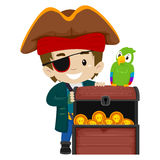 Pirate Kid and Parrot with Treasure Chest Stock Photography