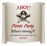 Pirate Kids Birthday Party Invite Template. A pirate kids birthday party invite template Royalty Free Stock Photo