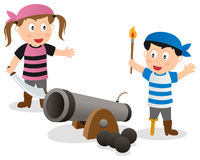 Pirate Kids with Cannon. Two cartoon pirate kids with a cannon, isolated on white background. Eps file available Royalty Free Stock Images