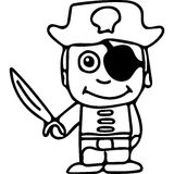 Pirate kids coloring page Royalty Free Stock Images
