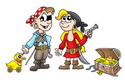 Pirate kids with duck and treasure. Color illustration Stock Photography