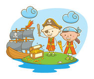 Pirate Kids Finding Treasure. Doodle illustration: Kids role as pirate finding treasure on island Royalty Free Stock Photos