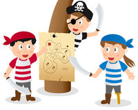 Pirate Kids Looking at Map. Three cartoon pirate kids looking at an old treasure island map, isolated on white background. Eps file available Stock Photo