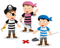 Pirate Kids Searching Treasure. Three cartoon pirate kids searching a treasure with shovel, isolated on white background. Eps file available Stock Photography