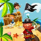 Pirate and kids with treasure chest on island. Illustration Stock Images