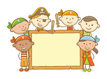 Pirate Kids Wooden Board Stock Image
