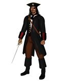 Pirate King. In leather coat with hat and eye patch, 3d digitally rendered illustration Stock Photos