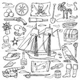 Pirate l'ensemble tiré par la main illustration stock