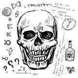 Pirate l'ensemble tiré par la main de crâne Attributs piratiques d'isolement d'aventure : clé et rhum, symboles mystérieux illustration de vecteur