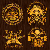 Pirate labels set - design for badges, logos and t Royalty Free Stock Image