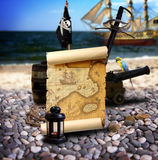Pirate landscape on the beach Stock Images