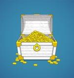 Pirate le coffre de tronc complètement des trésors de pièces d'or Image libre de droits