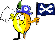Pirate lemon with blank paper and pirate flag Stock Photos
