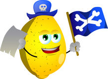 Pirate lemon with blank paper and pirate flag Stock Photo