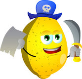 Pirate lemon with blank paper and sword Stock Image