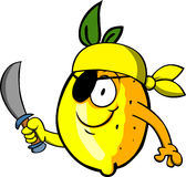 Pirate lemon with sword Stock Photos