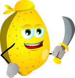 Pirate lemon with sword Stock Image